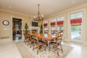 Breakfast Area with Fireplace - Country homes for sale and luxury real estate including horse farms and property in the Caledon and King City areas near Toronto