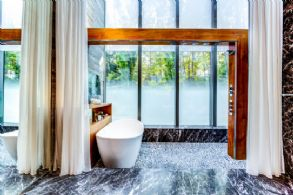 Master Bath with Heated River Rock Cascade Shower - Country homes for sale and luxury real estate including horse farms and property in the Caledon and King City areas near Toronto
