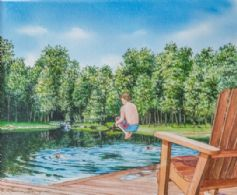 Swimming in the Pond Painting of Property by Laura Berry - Country homes for sale and luxury real estate including horse farms and property in the Caledon and King City areas near Toronto