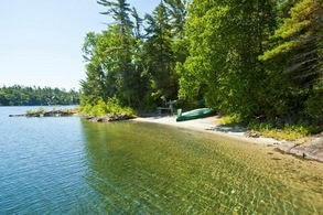 One of two sand beaches on the property - Country homes for sale and luxury real estate including horse farms and property in the Caledon and King City areas near Toronto